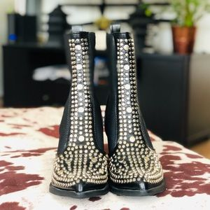 FREE PEOPLE Black Silver Studded Combat Boots 38